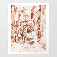 Old Syria- Man on Horse Art Print
