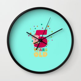 Five Years old fifth Birthday Party T-Shirt De6bl Wall Clock