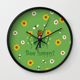 Bee happy Wall Clock