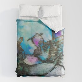 Mermaid and Shipwreck - Watercolor and Ink Comforters