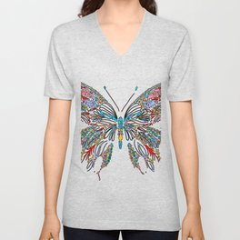 Colorful Buttery Wall Art Unisex V-Neck