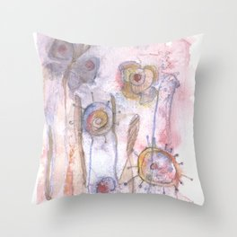 The Meadow - Abstract Flowers Throw Pillow