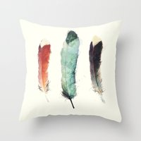 orphan black Throw Pillows featuring Feathers by Amy Hamilton