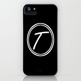 Monogram - Letter T on Black Background iPhone Case