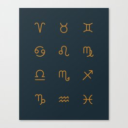Zodiac Symbols - Navy Canvas Print