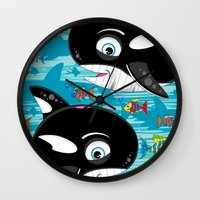 killer whale Wall Clocks featuring Killer Whale & Fish by markmurphycreative