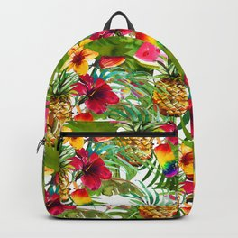 Tropical red yellow orange watercolor pineapple fruit floral Backpack