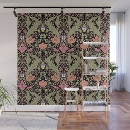 Spring Pattern with Poppy Flowers and Gladioli II Wall Mural