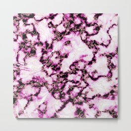 Bright Pink with Metallic Gold Veins Marble Texture Metal Print