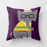 preppy Throw Pillows featuring Rodney the preppy elephant by Picomodi