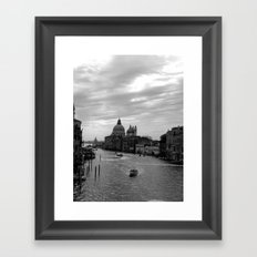 Venice Grand canal in black and white Framed Art Print