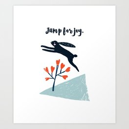 Jump for Joy - Black Rabbit Art Print