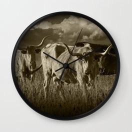 Sepia Tone of Texas Longhorn Steers under a Cloudy Sky Wall Clock
