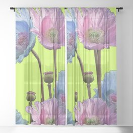 AWESOME PINK & BLUE POPPY GREEN  GARDEN FLOWERS Sheer Curtain