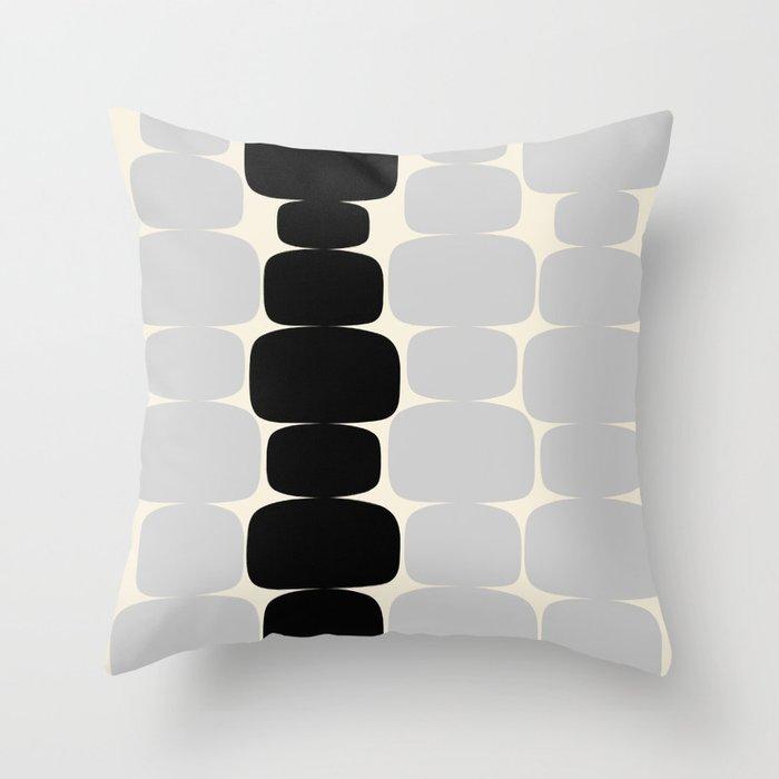 Abstraction_Balance_ROCKS_BLACK_WHITE_Minimalism_001 Throw Pillow