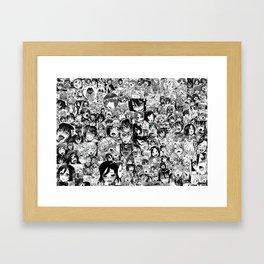 Ahegao hentai faces Framed Art Print