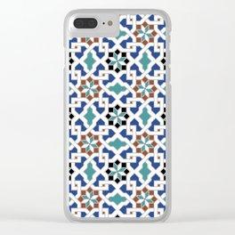 Geometric Pattern - Oriental Design Pt. 7x - seamless design ,blue, green Clear iPhone Case