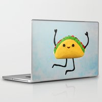 taco Laptop & iPad Skins featuring Happy Taco by Cuddles and Rage