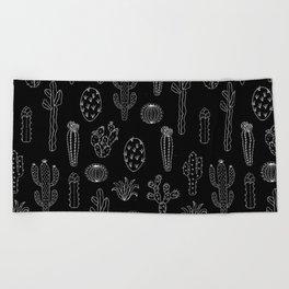 Cactus Silhouette White And Black Beach Towel
