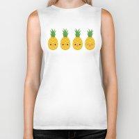 pineapples Biker Tanks featuring Pineapples by Sara Showalter