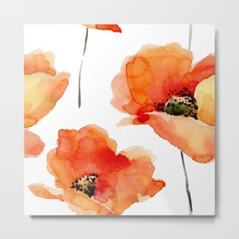 Modern hand painted orange watercolor poppies pattern Metal Print