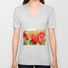 Red tulips in backlight Unisex V-Neck