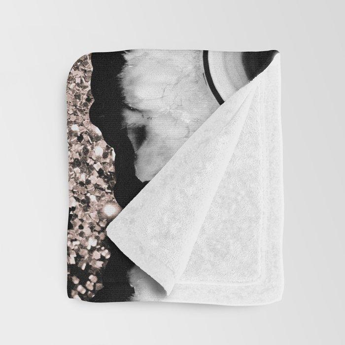 Gray Black White Agate with Rose Gold Glitter #1 #gem #decor #art #society6 Throw Blanket