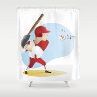 baseball Shower Curtains featuring Baseball! by Dues Creatius