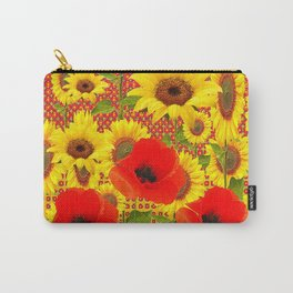RED POPPIES YELLOW SUNFLOWERS  GREY PATTERN ART Carry-All Pouch