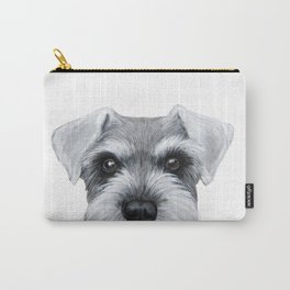 Schnauzer Grey&white, Dog illustration original painting print Carry-All Pouch
