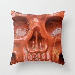 Red Jasper Skull Throw Pillow