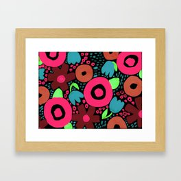 Bold Abstract Floral Inspired Pattern (Red, Orange, Honeysuckle Pink, Blue, Green) Framed Art Print