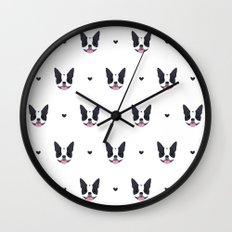 boston terrier pattern Wall Clock