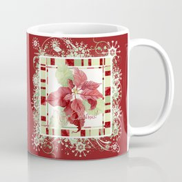 Modern Striped Poinsettia Christmas Floral Holiday Winter Coffee Mug