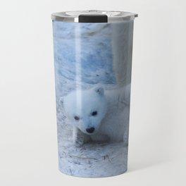 Polar bear family on snow close-up. Travel Mug