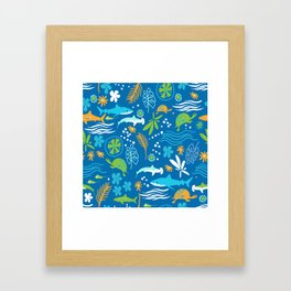 Sharks, Sting Rays and Turtles Framed Art Print