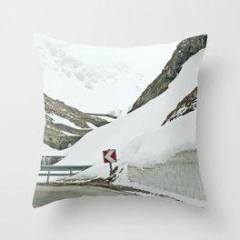 A high Alpine winter road trip Throw Pillow
