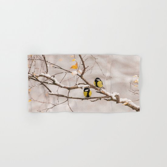 Lovely Songbirds on a Snowy Branch Hand & Bath Towel