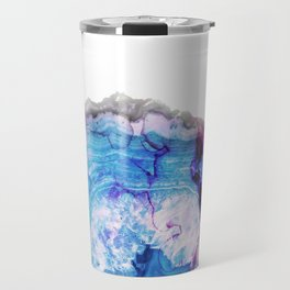 Blue purple agate stone transparent Travel Mug