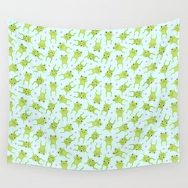 Kawaii Happy Frogs on Blue Wall Tapestry