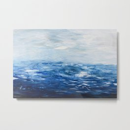 Paint 10 abstract water ocean seascape modern painting dorm room decor affordable stretched canvas Metal Print