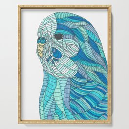 'Stained Glass Budgie' Ombre Blue Line work Geometric Illustrated Budgie Serving Tray