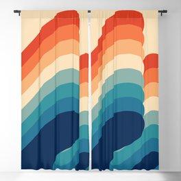 Retro 80s 70s Blue and Orange Flow Mid-Century Minimalist Abstract Art Ripples Blackout Curtain
