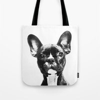 french bulldog Tote Bags featuring French BullDog by Maioriz Home