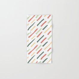 Abstract Ink Lines Pattern - Coral Green and White Hand & Bath Towel