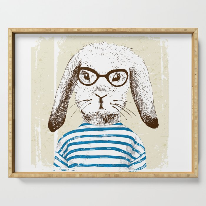 Hipster Rabit with Style Serving Tray