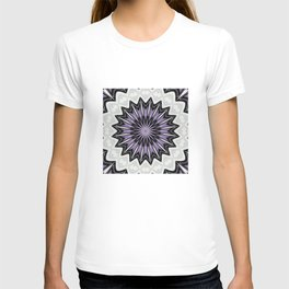 Ultra Violet Silver and Lilac Abstract Kaleidoscope Pattern T-shirt