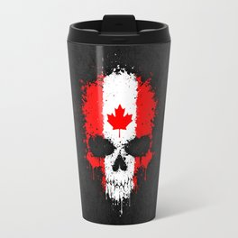 Flag of Canada on a Chaotic Splatter Skull Travel Mug