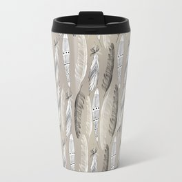Beautiful graphic bird feathers black white Travel Mug