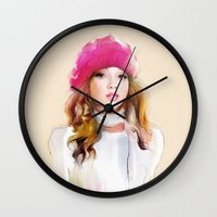 red riding hood Wall Clocks featuring  red riding hood by tatiana-teni